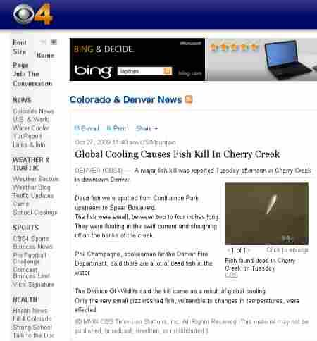 Global Cooling Causes Fish Kill