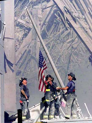 Raising the flag at Ground Zero