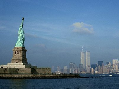 Lady Liberty watching over the twin towers before 9/11