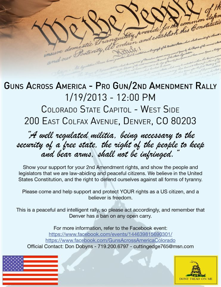 1/19 Denver gun rights rally poster