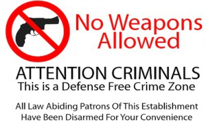 """No Weapons Allowed"" sign"