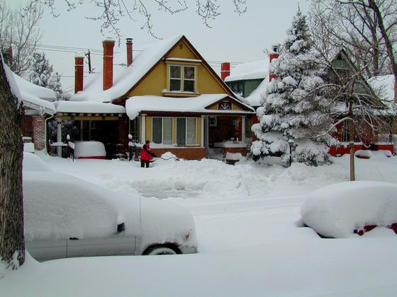 2006 blizzard - neighbor shoveling driveway