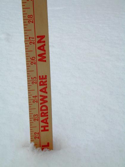 2006 blizzard - yardstick measuring snow depth
