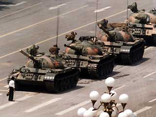 Stopping the tanks in Tiananmen Square